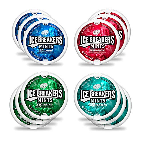 Ice Breakers Mint Variety Mix - Cinnamon, Wintergreen, Coolmint, & Spearmint (Pack of 12) by CandyLab