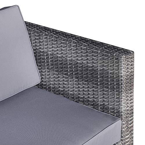 Outsunny 7-TLG. Polyrattan Gartengarnitur Gartenmöbel Garten-Set Sitzgruppe Loungeset Loungemöbel inkl. Fußhocker Sitzkissen Grau Stahl + Polyester 58 x 58 x 37 cm - 8