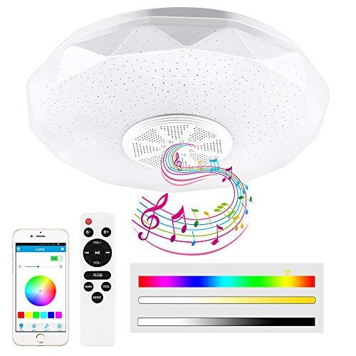 Prenine Lámpara LED de techo con música regulable con altavoz Bluetooth 5.0 y función de memoria, admite la reproducción de música, lámpara LED para interiores, cocina, dormitorio, salón