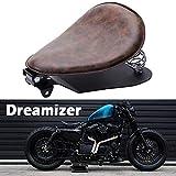 DREAMIZER Pelle Sella Bobber in Moto, Retro Sedile Singolo per Moto Con piastra di base per staffa a molla per Sportster XL883 1200 48 Chopper personalizzato