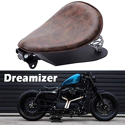 Dreamizer Motorrad Leder Bobber Sitz, Retro Motorrad Solo Sitz Mit Grundplatte der Federhalterung für Sportster XL883 1200 48 Chopper Custom