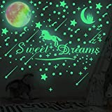 308 Pcs Glow in The Dark Stars for Ceiling, 3D Glowing Unicorn Moon Star Stickers for DIY Boys Girls Bedroom Decorations Wall Decals Green