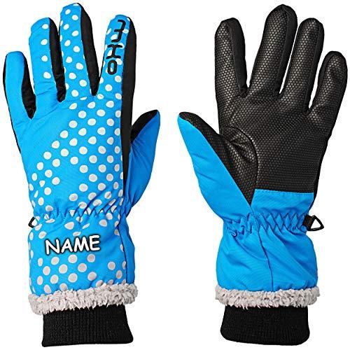 alles-meine.de GmbH Fingerhandschuhe / Handschuhe - Farbe & Größenwahl - Gr. 11 - 12 Jahre - inkl. Name - mit langem Schaft / Strick Bündchen - türkis blau Punkte - Thinsulate _ ..