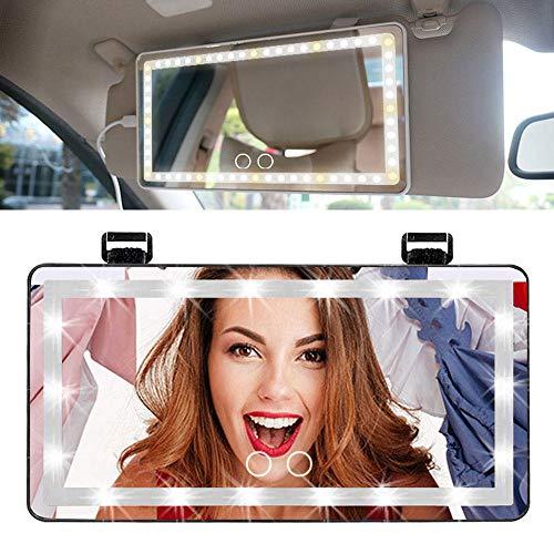 Espejo para El Parasol del Coche, Espejo De Maquillaje para Coche con 60 Luz Led Y 3 Modos De Iluminación, Espejo Retrovisor Coche, Car Sun Visor Mirror - Negro