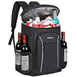 FORICH Cooler Backpack Portable Soft Backpack Coolers Insulated Leak Proof Large Cooler Bag for Men Women to Work Lunch Travel Beach Camping Hiking Picnic Fishing Beer Bottle Backpack, 30 Can (Black)