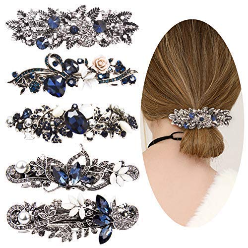 Jaciya Crystal Rhinestones Hair Clips 5 Pack Hair Barrettes Flower Butterfly French Clip Vintage Spring Hair Clips Bridal Hair Jewelry for Women