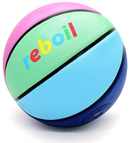 REBOIL Grip Rubber Basketball – Advanced Foaming Technology – Indoor and Outdoor for Kids amp Youth WNBA NCAA amp NBA – Official Size and Weight Size 4 4 Colors