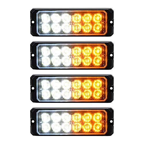 Astra Depot 4pcs Universal Car Truck 12V-24V IP68 Surface Mount 60W 12-LED White Amber Warning Caution Emergency Construction Flashing Strobe Light Bars