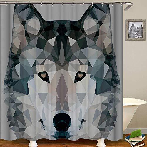 GWFVA Wolf douchegordijn met 12 haken bad polyester waterdicht gordijn badkamer decor stof, C, 150x180cm