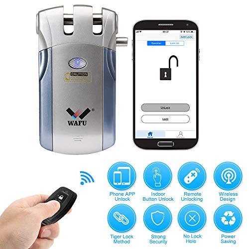 WAFU WF-018U Cerradura Inteligente Inalámbrica Cerradura Invisible Cerradura Control Remoto Desbloqueo de iOS Android App con 4 Control Remotos Sistema de Seguridad de Acceso, Azul+Plata