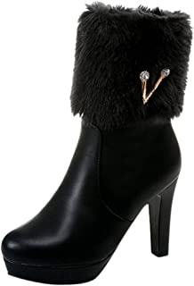 〓COOlCC〓Boots for Women,Waterproof Faux Fur Snow Boots Round Toe Platform High Heels Boots Mid-Calf Boots Winter Shoes
