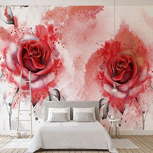 Fotobehang Fotobehang Modern Abstract Aquarel Hand Geschilderde Rose Bloem Muren Woonkamer Tv Bank Home Decor Achtergrond Muur Papier-350Cm (W) X 245Cm (H)