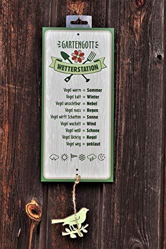 Dekostüberl Schild Wetterstation Gartengott 30x14cm mit Holz-Vogel Geschenk Garten