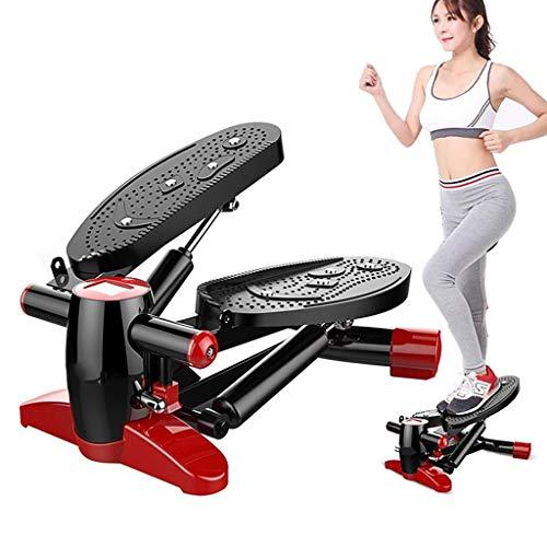 Beylore Mini Fitness Stepper, Máquinas De Step Swing Stepper Escaleras Stepper Up-Down con Pantalla Y Cuerdas De Resistencia, Swing Stepper para Usuarios Principiantes Y Avanzados,Negro