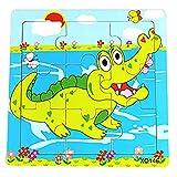 Hosaire 1x Rompecabezas de Madera Diseño Animal de Dibujos Animados Puzzles Infantiles Juguetes para niños de 2 a 5 años Juego Aprendizaje Educativo de Rompecabezas Regalos de Cumpleaños(Cocodrilo)