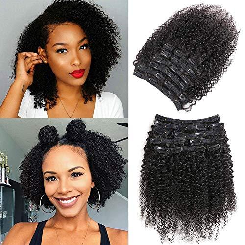 Extension di capelli umani con clip, con clip, 10 pezzi, 120 g, doppia trama