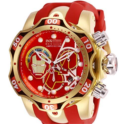 LEDM Reloj de Cuarzo para Hombre, Reloj de Acero Inoxidable con Calendario,Rojo