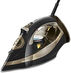 Philips GC4522/00 Azur Performer Plus Dampfbügeleisen (Kalkkassette, Sicherheitsabschaltung, 210 g Dampfstoß) schwarz/gold
