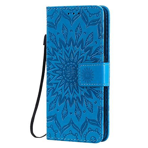 KKEIKO Hülle für Galaxy J4 Core, PU Leder Brieftasche Schutzhülle Klapphülle, Sun Blumen Design Stoßfest HandyHülle für Samsung Galaxy J4 Core - Blau