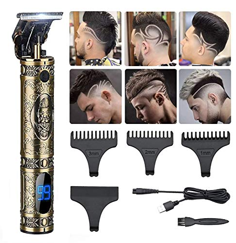 GSKY Electric Pro Li Mens Hair Trimmer Zero Gapped Cordless Hair Clipper Professional Haircut & Outline Grooming Kit T-Blade Trimmer beard trimmer For Men, Rechargeable LED Display