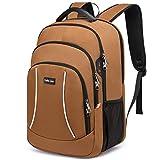 Mochila para ordenador portátil de 17 pulgadas, mochila de trabajo, impermeable, mochila escolar, mochila con ranura de carga USB, mochila para hombres, mujeres, trabajo, viajes, marrón