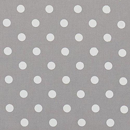 Vinylla - Mantel de algodón con revestimiento de vinilo, fácil de limpiar, hule plateado con lunares, 140 x 140 cm