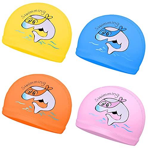 OYSJ 4PCS Cuffia da Nuoto, Cuffia da Nuoto Impermeabile per Bambini Cuffia da Nuoto Traspirante Cuffie per Bambini con Rivestimento in PU Modello di Cartone Animato