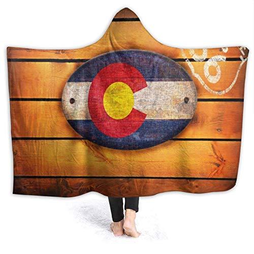 Hdaw Manta con Capucha usable,Colorado State Flag and Shield Route 66,Capa de Manta de Tiro de Lana cálida Suave acogedora para sofá Cama Viaje a casa