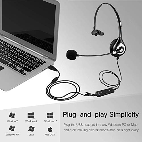Wantek USB Headset Mono mit Noise Cancelling Mikrofon und Lautstärkeregler, PC Kopfhörer für Business Skype UC SoftPhone Call Center, Kristallklarem Chat, Superleicht, Ultra Komfort(UC600)