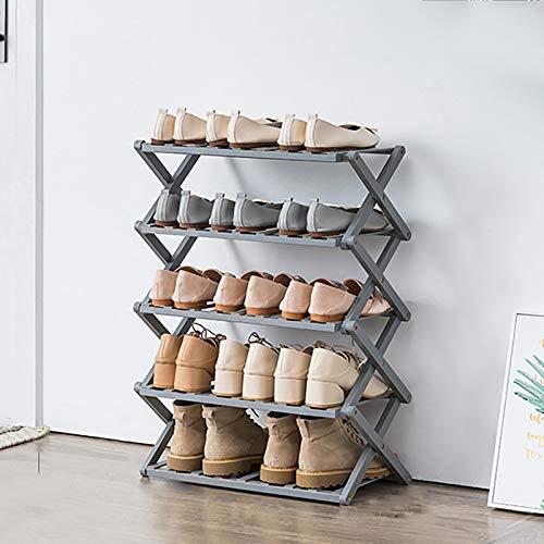 Almacenamiento Organizador De Rack De Zapatos De Bambú De 5 Niveles,Plegable Porta Zapateros Pequeños Apilables,Estante Zapatero,Estante De Zapatos Para El Armario Del Pasillo-Gris. 50x25x72cm(20x10x2
