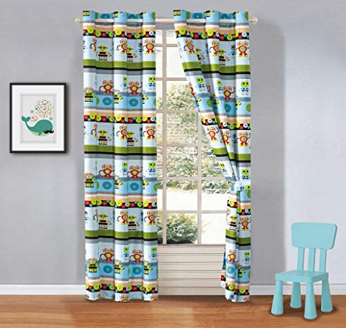 Kids zone Home Linen 2 Panel Curtain Set with Grommet for Boys Girls Teens Bedroom Multicolor Set Robots Mechanical Technology Blue Light Green Beige New