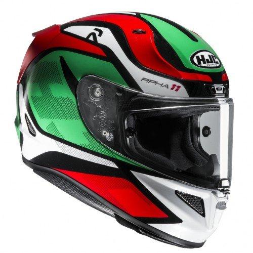 HJC Motorradhelm RPHA 11 Deroka MC4, Grün/Weiß/Rot, Größe L