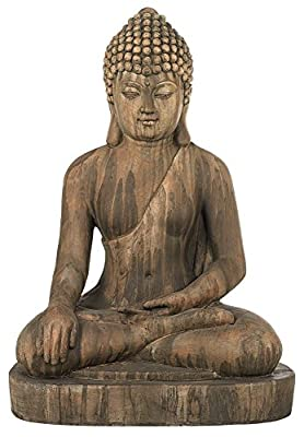 "John Timberland Zen Buddha Outdoor Statue 29 1/2"" High Floor Sitting Weathered for Yard Garden Lawn"