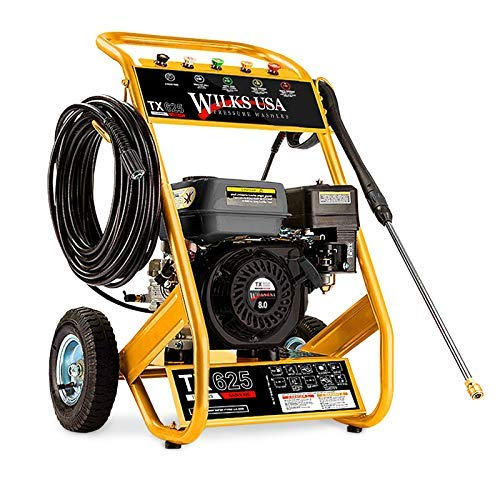 Wilks-USA TX625 Petrol Power Pressure Washer 7.0HP 4 Stroke Engine 3950 psi / 272 Bar Pump Jet Wash for Patio Car Driveway & Garden with 5 Quick Connect Nozzles