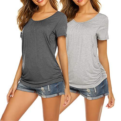 UNibelle Camiseta de lactancia de manga corta para mujer, para embarazo, maternidad, tallas S-XXL 2-gris y gris claro XXL