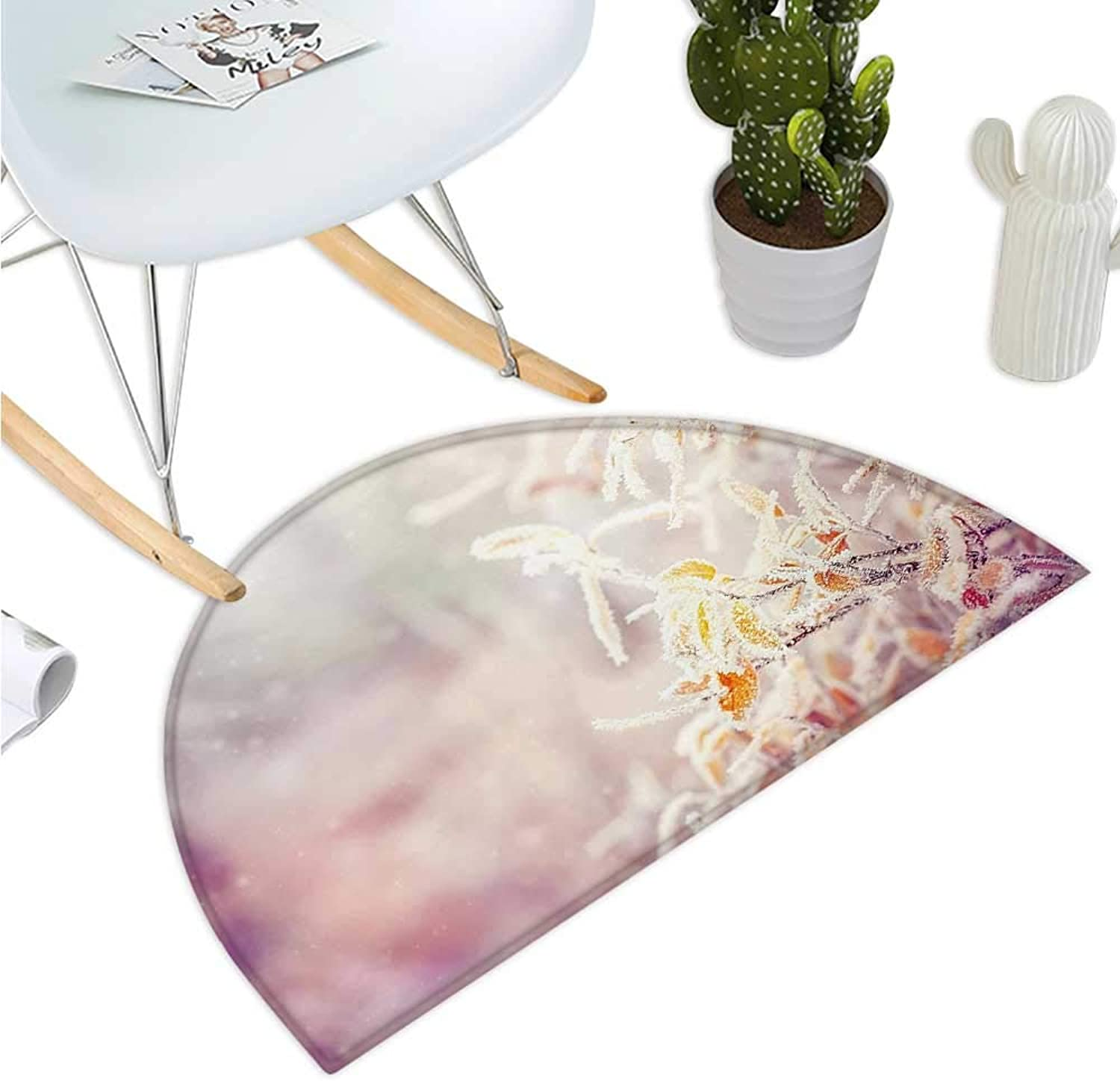 Winter Semicircular Cushion Snow Branches Tree Leaves Snowflakes Holiday Christmas Theme November Nature Entry Door Mat H 39.3  xD 59  orange Pink White