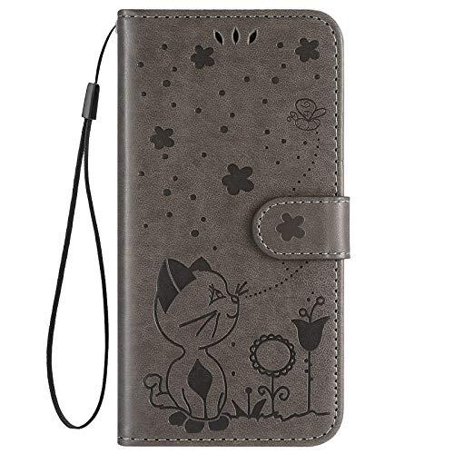 Hpory Kompatibel mit Nokia 3.1 Plus Hülle, Handyhülle Nokia 3.1 Plus Retro Muster PU Leder mit Handschlaufe Geldbörse Wallet Case Flip Cover Schutzhülle Handytasche Klapphülle - Katze Biene Grau