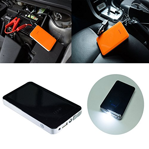 PA 12V Small Portable Car Multi-Function Battery Charger +2.4A Power Bank Booster (Black)