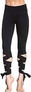 Ptyhk RG Women's Basic High Waist Lace-Up Sports Capri Leggings Ballet Yoga Pants