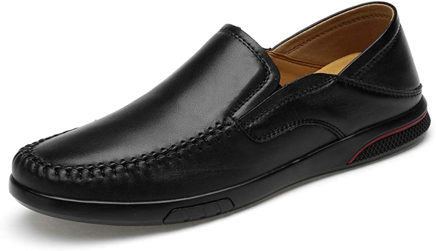 MUMUWU Light-Weight Slip-on Penny Loafers for Men Leather Upper Flat Stitch Driving Dress shoes (color   Black, Size   9 D(M) US)