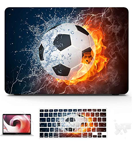 2018 MacBook Air Case Soccer Ball Fire Water Illustration Soccer Plastic Hard Shell Compatible Mac Air 11' Pro 13' 15' Cover for Laptop Protection for MacBook 2016-2019 Version