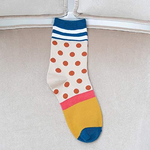 WAESRD Socken Punkt-Streifendruck Bunte Beiläufige Socken Der Baumwolldamen Lustige Nette Freizeitdamen-Frauensocken 5 Paare