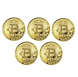 Ulable 5 unids Moneda de Oro / Plata / Cobre Chapado Bitcoin Moneda Moneda Virtual Coleccionables Regalo BTC Coin Art...