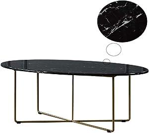KUKU-tavolino da caffè Tavolino da caffè in Marmo Ovale Nero Post-Moderno, Vassoio Geometrico Semplice in Ferro battuto, Adatto per Soggiorno