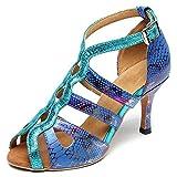 TINRYMX Zapatos de Baile Latino con Estilo para Mujer - Sandalias de tacón Alto con Correa en el Tobillo para Baile de salón,Azul,EU 36