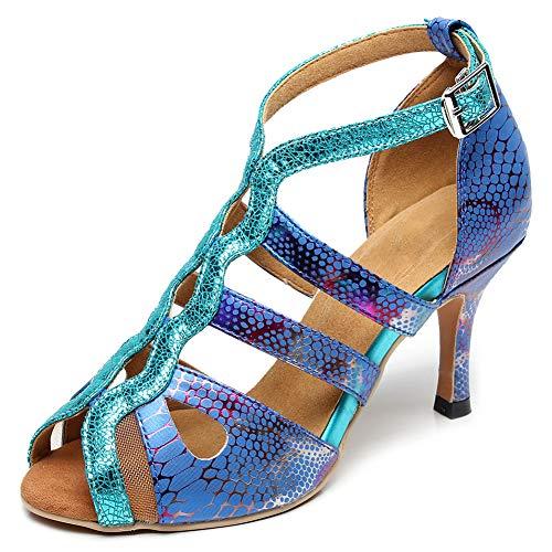 VCIXXVCE Zapatos de Baile Latino con Estilo para Mujer - Sandalias de tacón Alto con Correa en el Tobillo para Baile de salón,Azul,EU 38.5