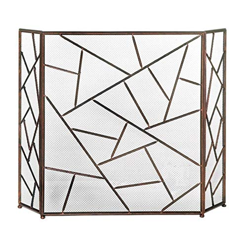YAOLUU Funkenschutz Einfaches Wohnzimmerkamin-Partition-Bildschirm Dreifache Feuerleiste mit Netto-Schmiedeeisen-hohlen dekorativen Mantel Kamin Zündschutz
