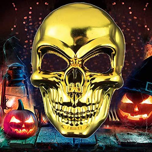 Lim Mascaras de Halloween de Terror MáScara Disfraz Craneo Esqueleto,para Navidad Halloween Cosplay Grimace Festival Fiesta Show Mascarada (Gold)