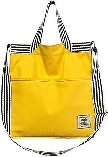 Fanspack Womens Shoulder Bag Crossbody Bag Fashion Stripe Canvas Tote Handbag