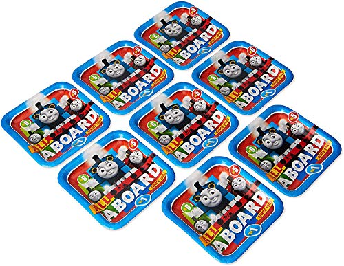 Amscan 551752 Thomas & Friends Square Paper Plates with Thomas and Friends Theme-8pcs, Multicolor, 136.08g
